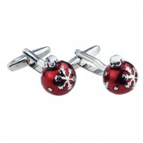 Beautifully Detailed Red Christmas Bauble Cufflinks